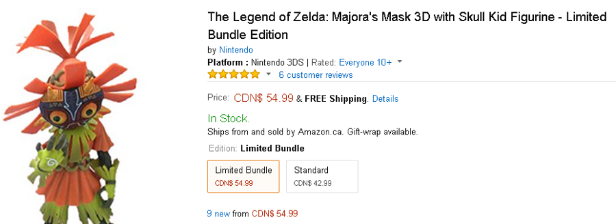 Amazon.ca Majora's Mask 3D Limited Edition