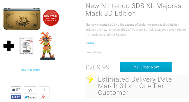 Nintendo UK Store Majora's Mask New 3DS XL