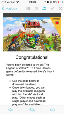 Tri Force Heroes Demo Email